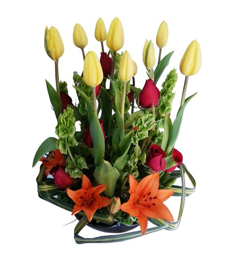Arreglo de flores naturales de tulipanes | Flores Nicté ...