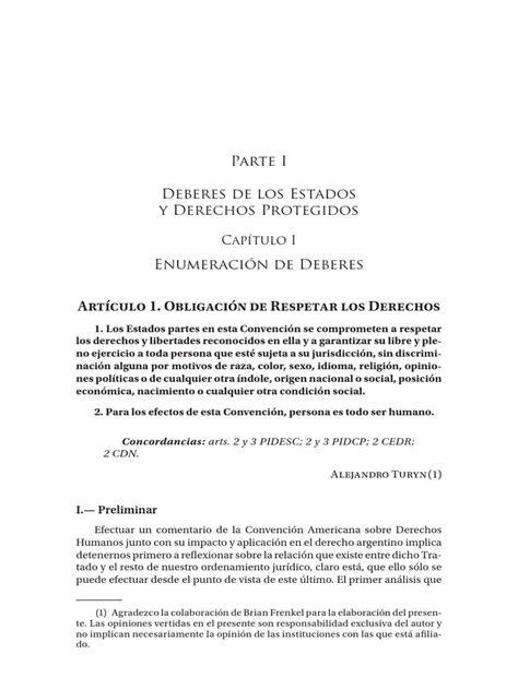 Art 1 CADH Obligacion de Respetar Los Derechos | Convenio ...