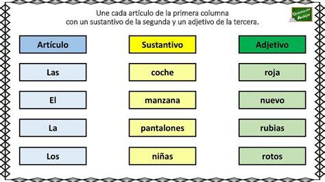 Artículo + Sustantivo + Adjetivo: Relaciona correctamente ...
