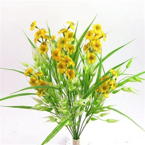 Artificial Phlox & Oats Mix Silk Flower Bush Yellow ...