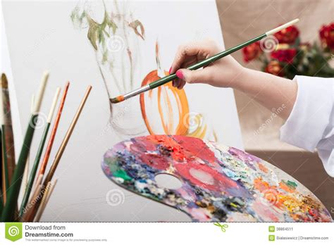 Artist painting a picture stock image. Image of creativity ...