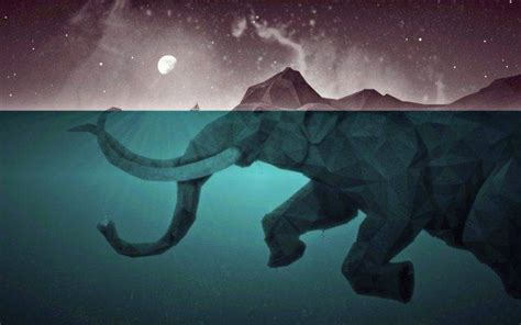 artwork, Moon, Elephants, Low poly, Water, Sea, Split view ...