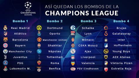 Así quedan los bombos del sorteo de Champions 2018 2019