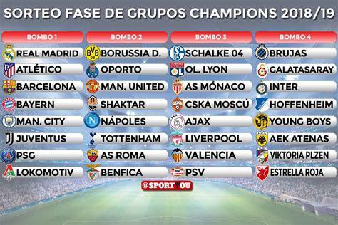 Así quedan los bombos para el sorteo de la Champions ...