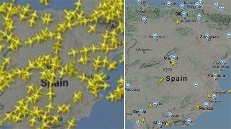Así se ha vaciado el espacio aéreo español con la crisis ...