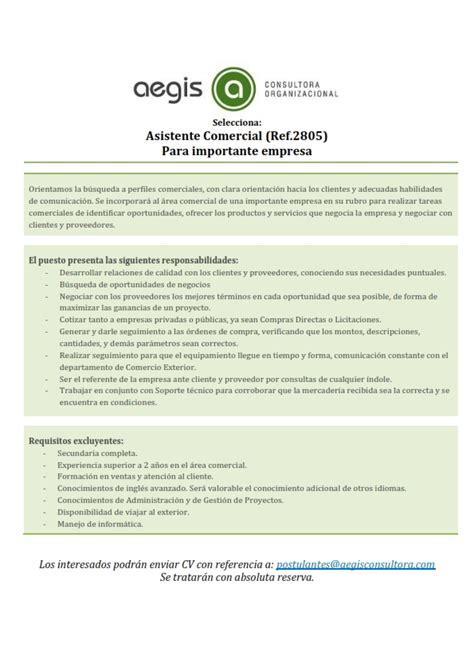 ASISTENTE COMERCIAL PARA IMPORTANTE EMPRESA  JUNIO 2015 ...
