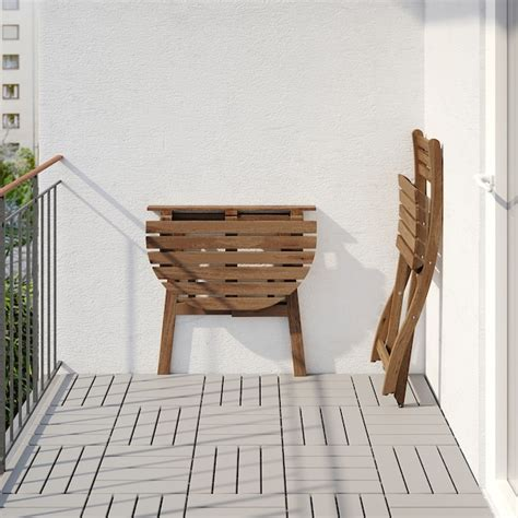 ASKHOLMEN Mesa de pared y silla plegable, ext   tinte café ...