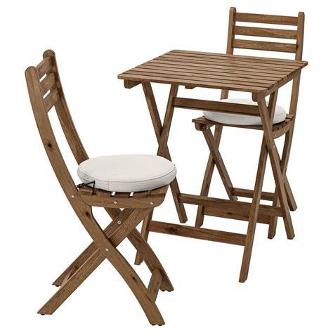 ASKHOLMEN Mesa y 2 sillas plegables, exterior   tinte café ...