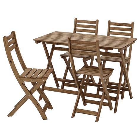 ASKHOLMEN Mesa y 4 sillas, exterior   tinte café grisáceo ...