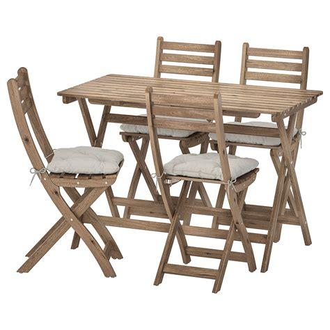 ASKHOLMEN Mesa y 4 sillas pleables, exterior   tinte café ...