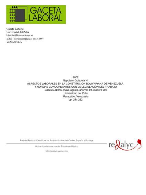 ASPECTOS LABORALES EN LA CONSTITUCION DE LA REPUBLICA ...