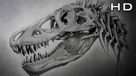 Aterrador Dibujo del Cráneo de un Tiranosaurio Rex a lápiz ...