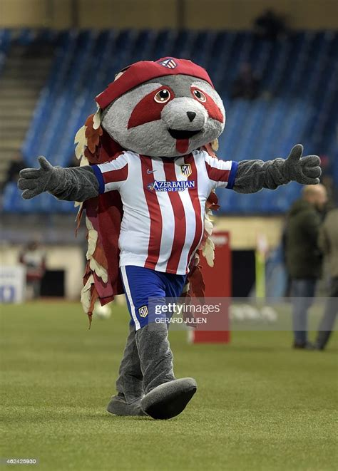 Atletico Madrid s mascot gestures before the Spanish Copa ...