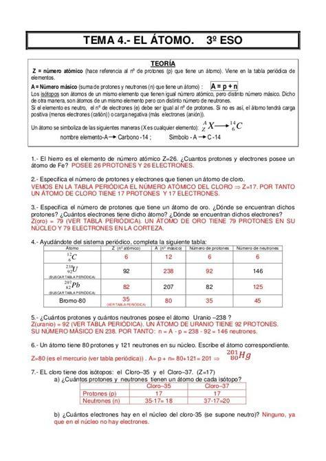 Atomo ejercicios resueltos 3º eso | Science chemistry ...
