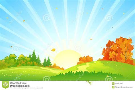 Autumn Forest Sunrise Landscape Stock Vector ...