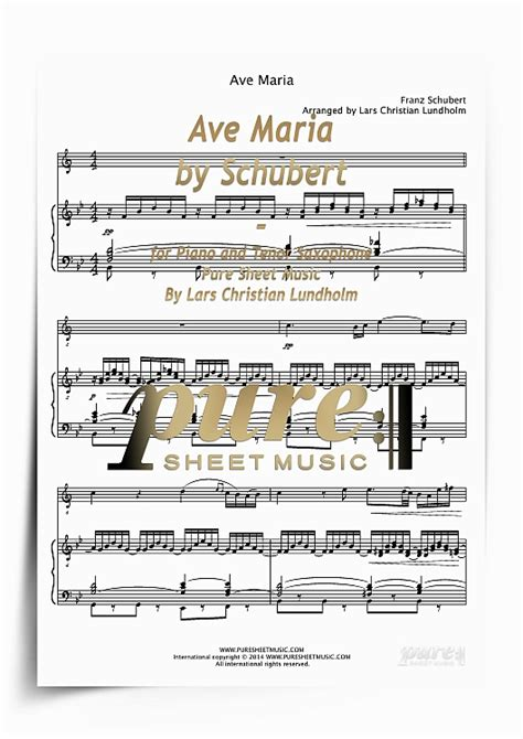 Ave Maria by Schubert for Piano and Tenor Saxophone  PDF ...