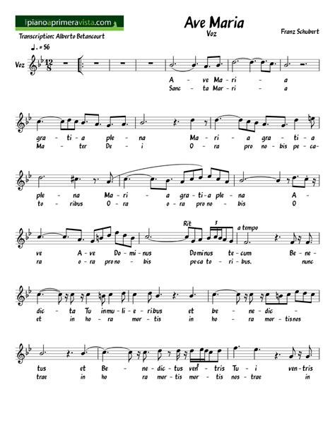 Ave Maria   Schubert   voz sheet music for Piano, Voice ...