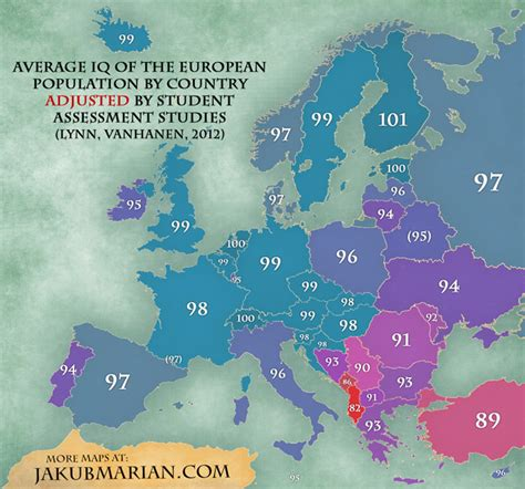 Average IQ in Europe by country  map