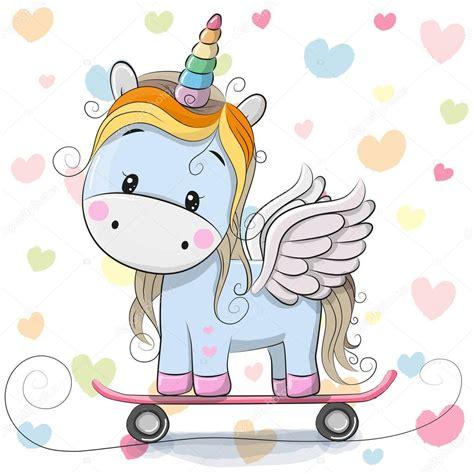 Azul de dibujos animados lindo unicornio — Archivo ...