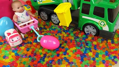 Baby doll and Dirt cart Surprise eggs color candy Kinder ...
