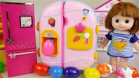 Baby Doll refrigerator and Surprise eggs Kinder Joy toys ...