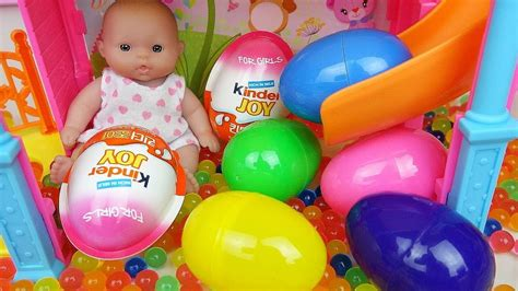 Baby Doll Slide Surprise eggs and Kinder joy toys   YouTube