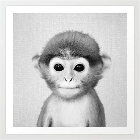 Baby Monkey   Black & White Art Print by galdesign | Society6