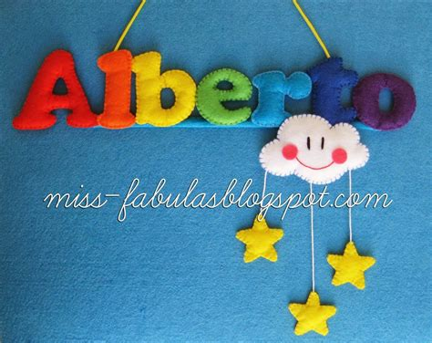 Baby name felt rainbow, cloud and stars   Nombre bebe con ...