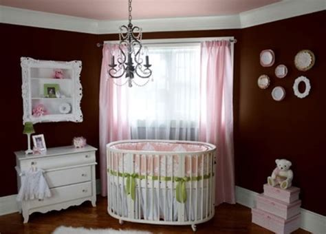 Baby Nursery With Dark Brown Wall And Pink Accent Also ...