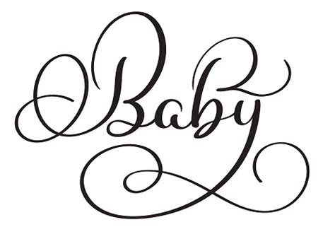 Baby Word On White Background Hand Drawn Calligraphy ...