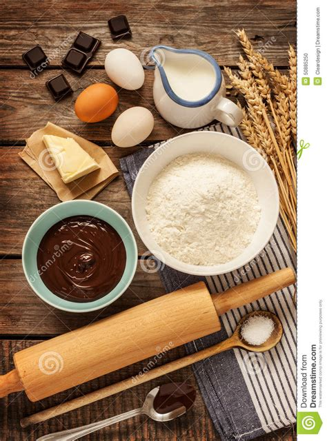 Baking Chocolate Cake   Recipe Ingredients On Vintage Wood ...