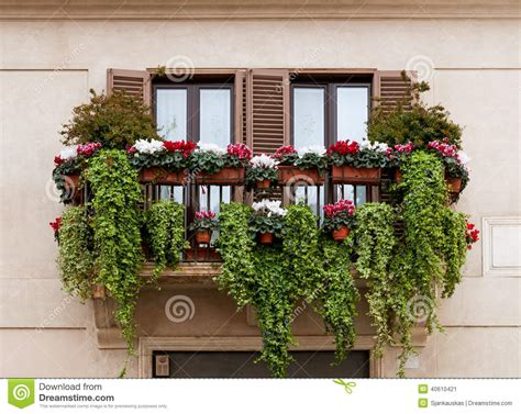 Balcony with flowers stock image. Image of balcony, front ...