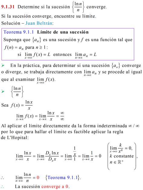 Banco de matemáticas: Límite de una sucesión convergente ...