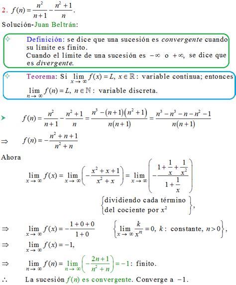 Banco de matemáticas: Sucesión convergente. Apostol 10.4.2