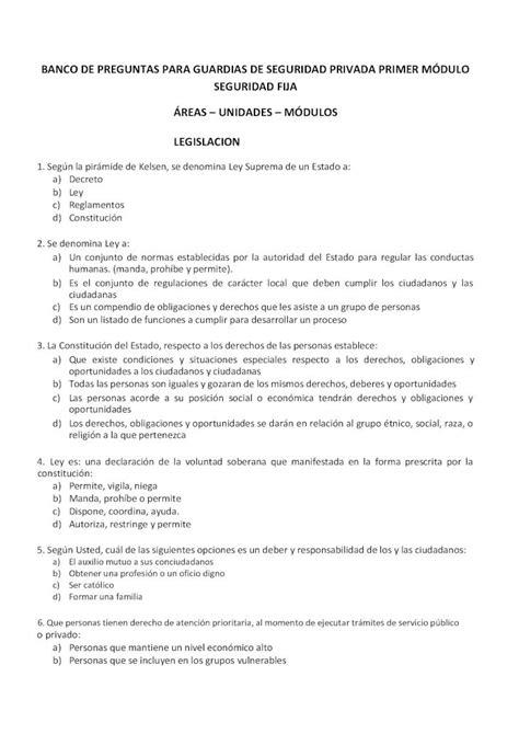 BANCO DE PREGUNTAS PARA GUARDIAS DE de preguntas para ...