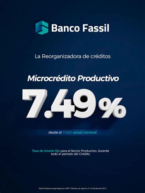 Banco Fassil ofrece microcrédito productivo con tasa desde ...