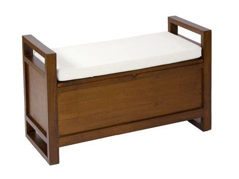 Banqueta baulera de madera con cojín | Muebles de madera ...