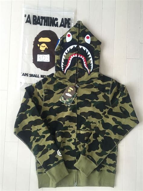 BAPE A Bathing Ape 1st Green Camo Shark Hoodie *Size L ...