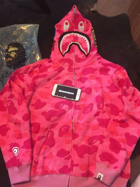 Bape Camo shark hoodie pink US Size Medium | Bape, Shark ...