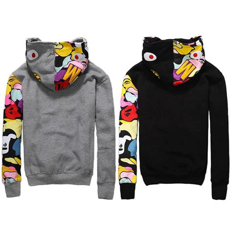 Bape Jacket Men s SHARK Head FULL ZIP HOODIE Sweater From ...
