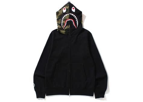 BAPE Shark Full Zip Hoodie Camo Hood Black