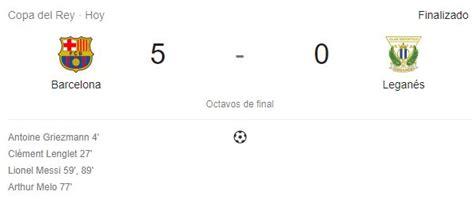 Barcelona 5 Leganés 0. Merecida clasificación. Setién ...