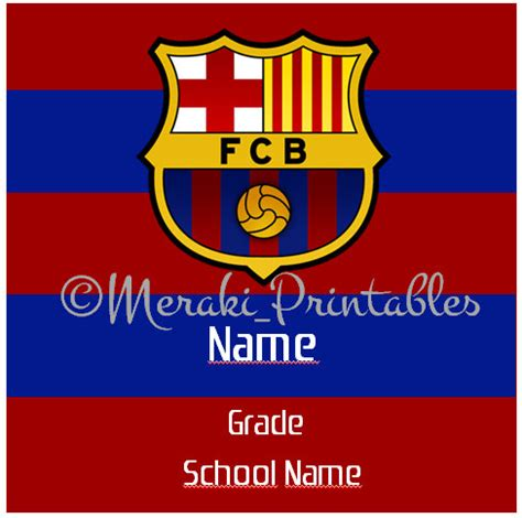 Barcelona FCB Back to school name labels stickers soccer ...
