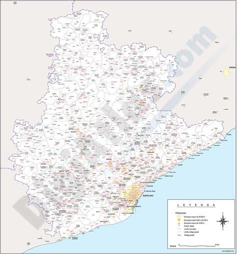 Barcelona   mapa provincial con municipios y códigos postales