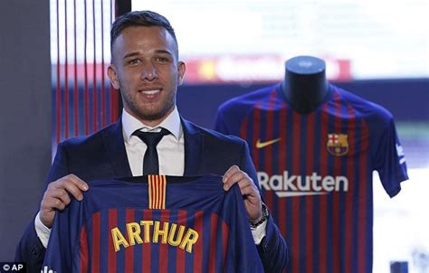 Barcelona unveil new £27.5m signing Arthur at Nou Camp ...