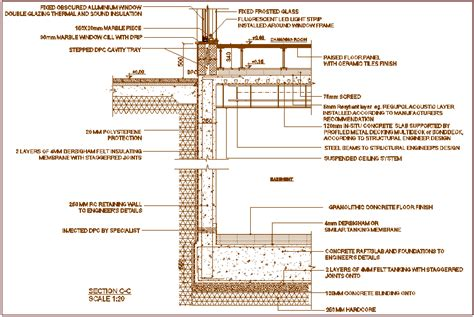 Basement tank raised floor wall and window section with ...
