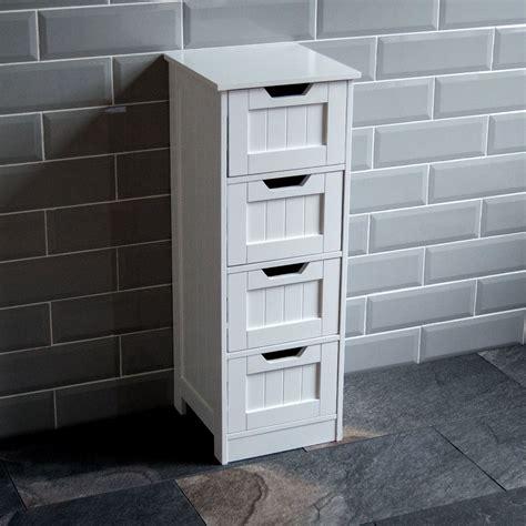 Bathroom 4 Drawer Cabinet Storage Cupboard Wooden White ...