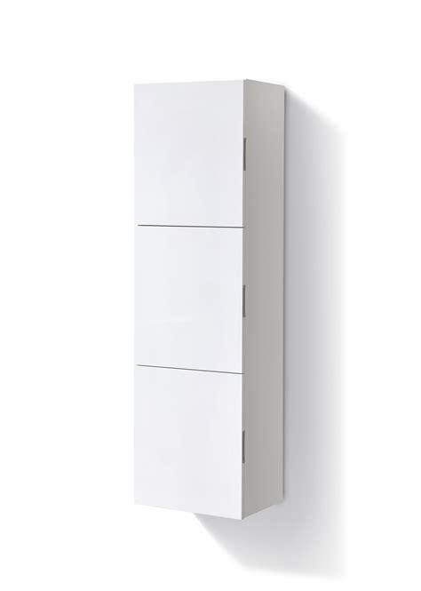 Bathroom High Gloss White Linen Side Cabinet w/ 3 Large ...
