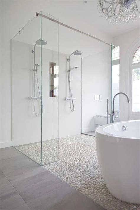 Bathroom Shower with River Rock Floor   Contemporary ...
