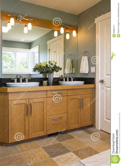 Bathroom Vanity With Wood Cabinets, Double Sinks, Slate ...